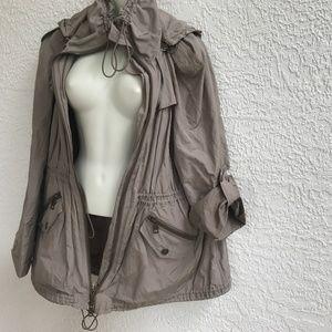 Burberry Brit Hooded Rain Jacket Coat Khaki 12